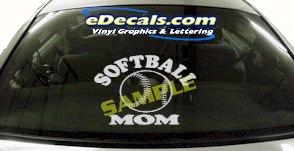 SPT180 Softball Mom Sports Cartoon Decal