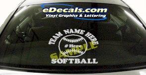 SPT186 Softball Team Name Here Ball Sports Cartoon Decal