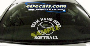 SPT187 Softball Team Name Here Ball Sports Cartoon Decal