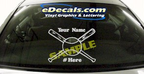 SPT190 Softball Your Name Here Ball Sports Cartoon Decal