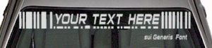 WSD117 Bar Code Accent Your Text Here Windshield Decal