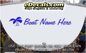 WSD411 Palm Tree II Your Name Here Boat Decal