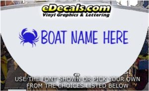 WSD415 Crabby Your Name Here Boat Decal