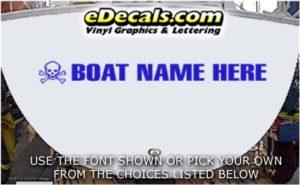 WSD416 Skull n Crossbones Your Name Here Boat Decal