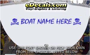 WSD419 Skull n Crossbones Your Name Here Boat Decal