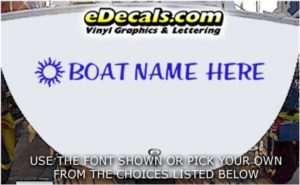 WSD420 Sun Symbol Your Name Here Boat Decal