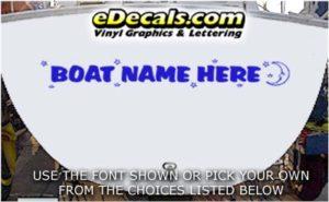 WSD426 Moon n Stars Your Name Here Boat Decal