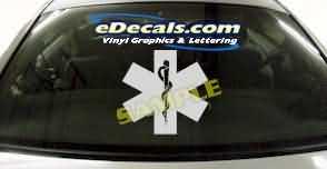 CRT347 Ambulance Shield Firefighter Cartoon Decal