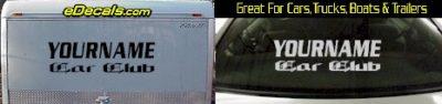 Custom437 Custom YOURNAMEHERE Car Club Decal