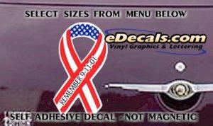 PAT105 Remember 9-11-01 American Patriotic Ribbon Decal