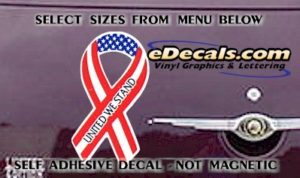 PAT106 United We Stand American Patriotic Ribbon Decal