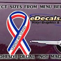 PAT107 United We Stand American Patriotic Ribbon Decal