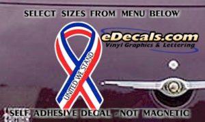PAT107 United We Stand American Patriotic Ribbon Decal