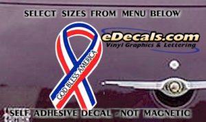 PAT108 God Bless America American Patriotic Ribbon Decal